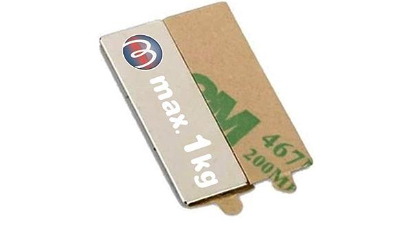 20 x Bloque magn/ético autoadhesivo 10 x 10 x 1mm Neodimio N35