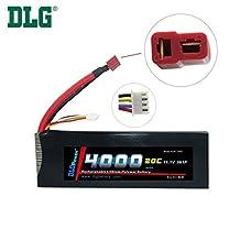 DLG 4000mAh 11.1V 3S 20C Burst 40C LiPO Li-Po High-Discharge Rate Powerful Battery with Dean's T Plug