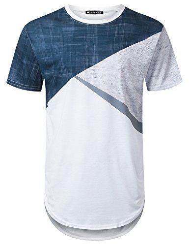 (URBANTOPS Mens Hipster Hip Hop Denim Colorblock Longline T-Shirt White, M)