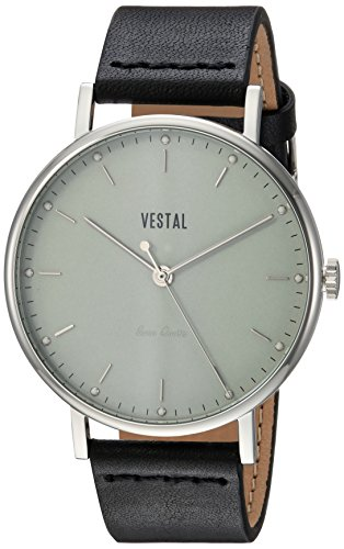 Vestal 'Sophisticate' Swiss Quartz Stainless Steel and Leather Dress Watch, Color:Black (Model: SPH3L06) - 41hYbOOpDnL - Vestal 'Sophisticate' Swiss Quartz Stainless Steel and Leather Dress Watch, Color:Black (Model: SPH3L06)