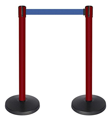 2 wide red post QueueWay PLUS Set of 2 QPLUS-21-L5 10 length Blue belt