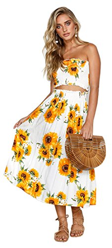 Holiday 2 Piece Outfit - ALAIX Women's Outfit Floral Printed Off The Shoulder Two Piece Dress Maxi Holiday Beach Dress Sunflower-S
