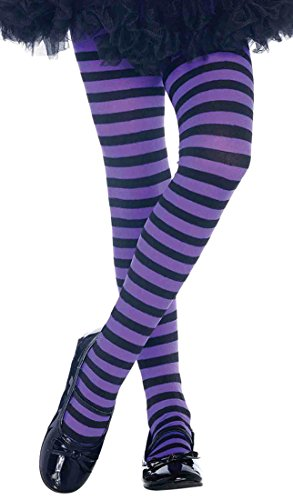 ToBeInStyle Girls' Horizontal Striped Full Length Tights - Black/Purple - (Green And Purple Striped Tights)