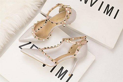MAKEGSI Womens Pointy Toe Stud Strappy Ankle T-Strap Stiletto Heel Pump Sandal Gray EBlb7
