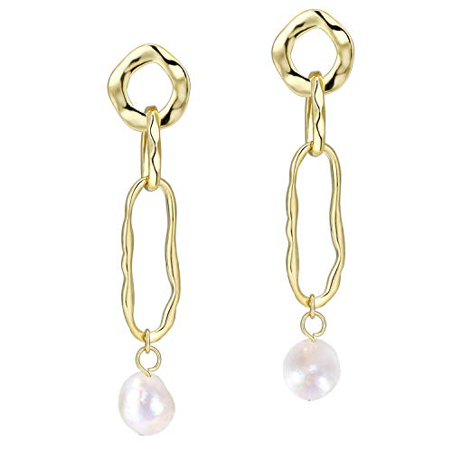 Baroque Freshwater Cultured Pearls Drop Dangle Earrings for Women Girls, 14K Gold Plated (Circle)