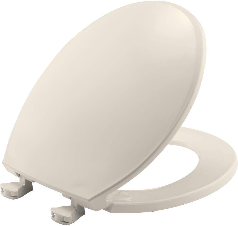 Bemis 800ec 346 Plastic Toilet Seat With Easy Clean Change Hinges Round Biscuit Linen Amazon Com