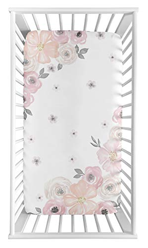 Sweet Jojo Designs Blush Pink, Grey and White Photo Op Baby or Toddler Fitted Crib Sheet for Watercolor Floral Collection ()