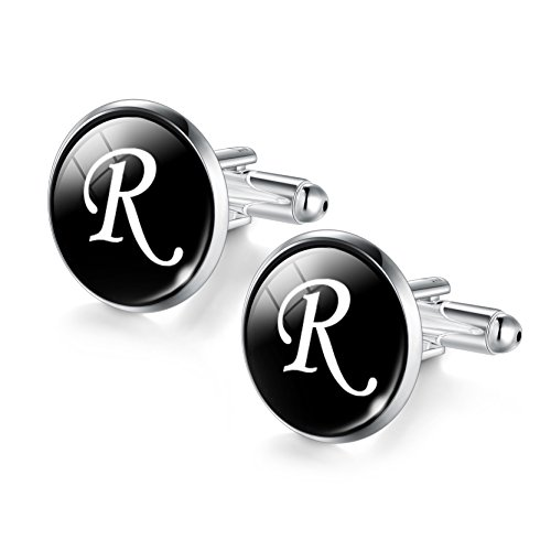 Letters R Cabochon Cuff Links for Men Fancy Dress Shirt Cufflinks ()