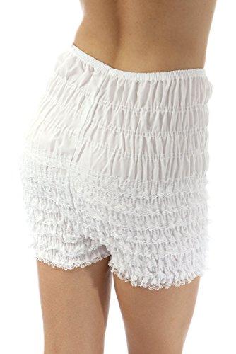 (Malco Modes Womens Ruffle Panties Bloomers Dance Bloomers, Sissy Steampunk (White, Medium))
