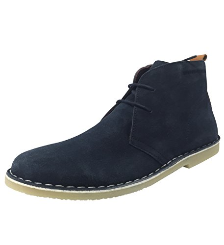 London Brogues Ladies Womens Caxton Real Genuine Suede Leather Desert Lace Up Flat 2 Eyelet Low Block Heel Summer Ankle Boots Flats Shoes Size 3 4 5 6 7 8 Navy
