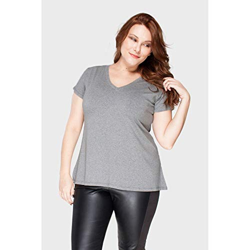Camiseta Decote V Plus Size Grafite-46/48