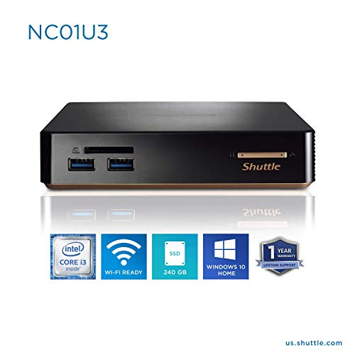 Price comparison product image Shuttle Intel i3 Mini PC HTPC Desktop Computer with Windows 10 Home / 8GB / 240GB / Wi-Fi / Bluetooth / Gigabit Ethernet / 4K Supported / SD Card Reader / Upgradeable / (8GB RAM + 240GB SSD)