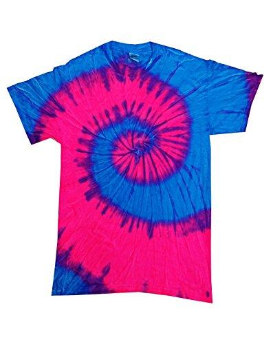 Call Tie Dye T-shirt (Colortone Adult Swirl Tie Dye Tee, Blue Pink Flo, XXX-Large)