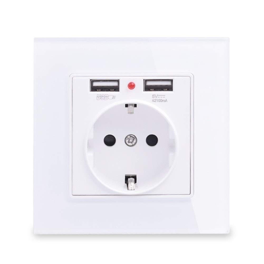 Toma De Corriente Panel De Cristal Puerto De Carga Dual USB 2.1A 16A Enchufe De Pared Blanco//Negro//Dorado//Gris Type : White, Voltage class/é : 110 250 V