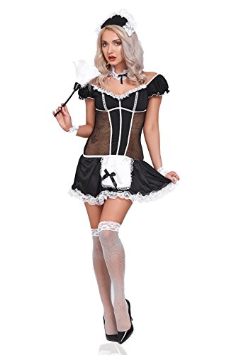 Cabaret Costumes Ideas (Women Sexy French Maid Costume Private Room Cleaner Hotel Service Adult Role Play (Black/White))