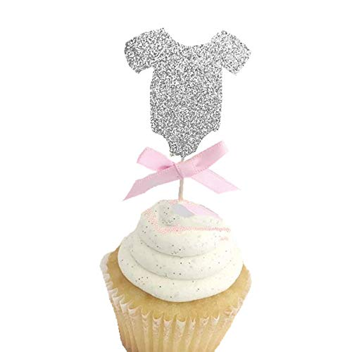 15 Pcs of Glitter Silver Baby Cloth Cupcake Toppers with Pink Bow for Kids Babies Birthday Party Baby Shower Party Cake Decorations (Silver Cloth) ()