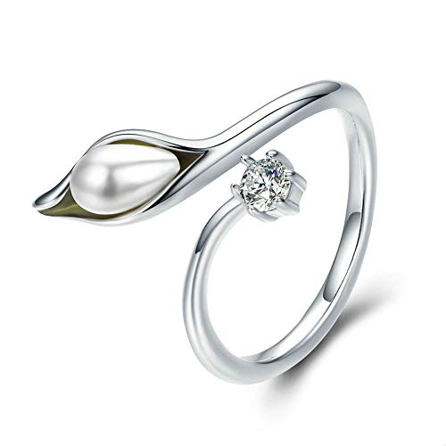 Jaiconfiance Lady Ring Calla Lily Shape Open Ring Women Pearl Size Adjustable Wedding Ring Lady Jewelry Accessories Love Gift Birthday Wedding Jewelry (Color : Silver, Size : Free Size) (Engagement Lily Ring Calla)