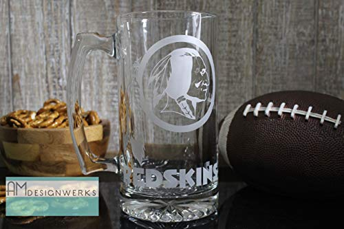 Washington Redskins Jumbo 28.5oz Hand Etched Glass Beer Mug
