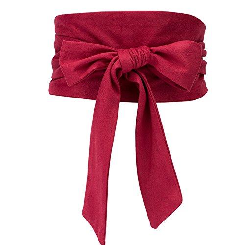 (Shengweiao Women's Self Tie Wrap Around Obi Waist Band Cinch Boho Belt (Red))