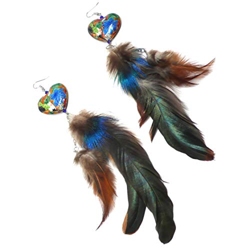 - Extra Long Double Chain Dangle Feather Earrings Chinese Cloisonne Enamel Hummingbird