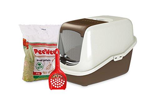 PeeWee EcoHus - Bac à Litière - Kit de Départ - Marron/Ivoire