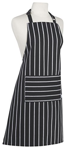 Now Designs Basic Cotton Kitchen Chef's Apron, Stripe Black