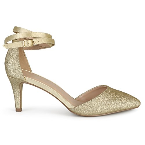 Brinley Co. Womens Gold Glitter D'Orsay Pointed Toe Wrap Strap Pumps Gold, 11 Regular US]()