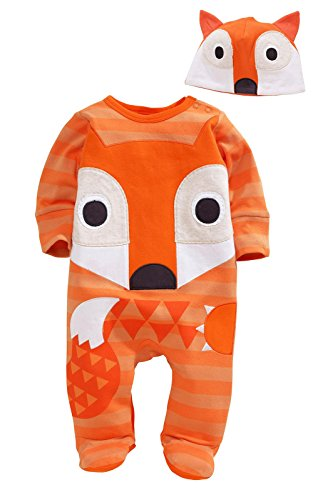 Cartoon Animal Fox Owl Baby Boys Girls Newborn Romper Playsuit Outfits Set 0-24M (Baby Santa Outfit For Boy)