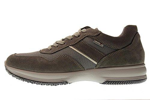 Grigio Uomo Sneaker Enval Pelle E Italy Made Scarpa Soft In Tessuto 12102 Asfalto wqXI7Xf