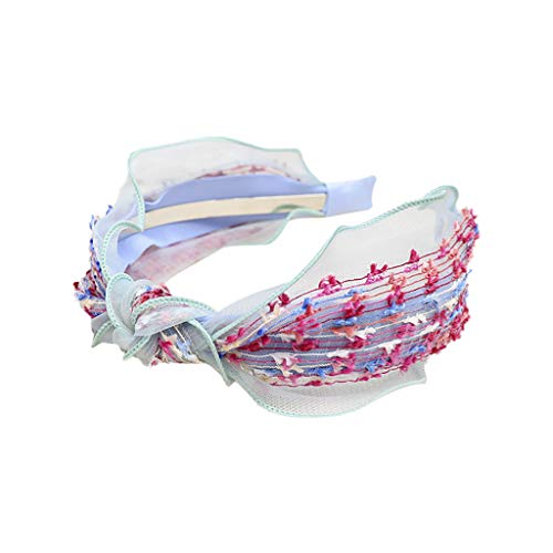- LIM&Shop Cross Headbands Vintage Ruffles Floral Head Wrap Retro Hairband Twisted Bow Hair Accessories Layers Hair Hoop
