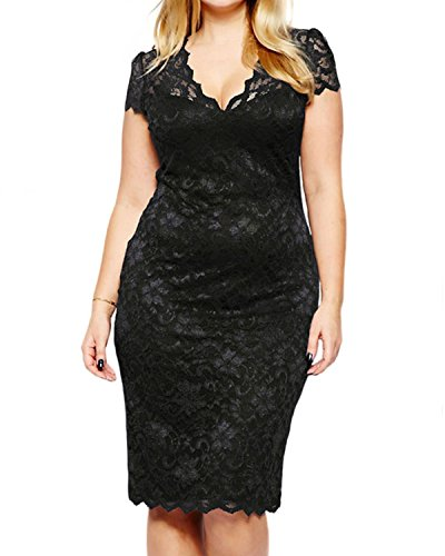 Women's Lace Plus Size V Neck Sexy Bodycon Party Evening Dress Black 20W