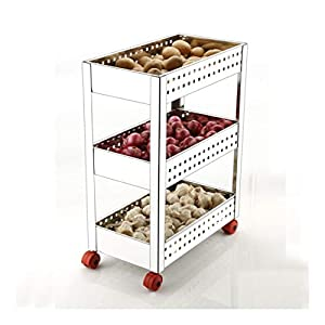 Plantex Stainless Steel 3-Tier Multifunction Vegetable Basket for Kitchen/Vegetable Storage Trolley for Kitchen(Square Profile-Silver)