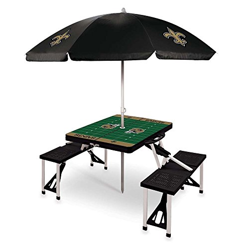 NFL New Orleans Saints Picnic Table Sport with Umbrella Digital Print, One Size, Black by PICNIC TIME