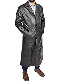 Mens Leather Coat Full Length Black Leather Trench Mac Crombie Overcoat - Blade
