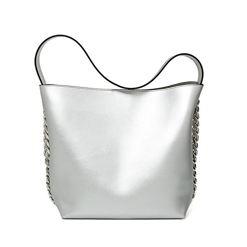 Bolsos de alta capacidad otoño e invierno nuevas señoras bolso bolsa niño paquete diagonal de gran capacidad, plata Silver