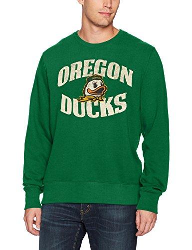 (NCAA Oregon Ducks Adult Men NCAA Men's Ots Fleece Crew Distressed, Large, Kelly)