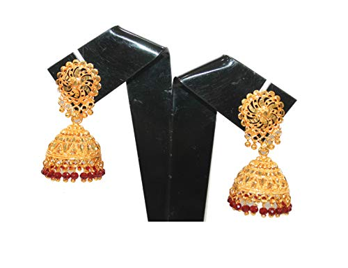 IndianStore4All New Festive Collection Brass Gold Plated Indian Bollywood Dizain Earring (Jhumka) Fashion Party Wear Earring -