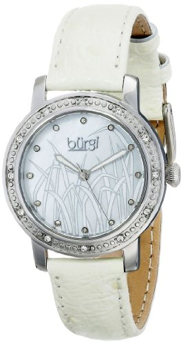 Burgi Women's BUR096SSW Silver Quartz Watch with White Mother of Pearl Landscape Dial With White Leather Strap