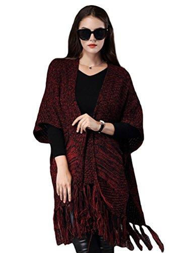 NiSeng Mujer - chaquetas de punto - cardigan largo mujer - ponchos y capas - para invierno Rojo