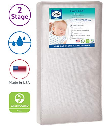 "Sealy Baby Cozy Cool Hybrid 2-Stage Dual Firmness Waterproof Standard Toddler & Baby Crib Mattress - Soybean Cool Gel Memory Foam & Premium Coils, 51.7"" x 27.3"""
