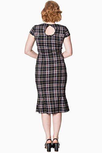 XL Black Pencil Tartan Dress Retro Vintage Poppy Yqv8yfa