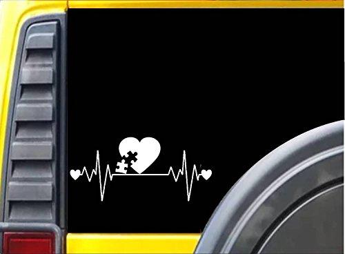 Autism Lifeline K258 8 Inch sticker puzzle heartbeat decal -