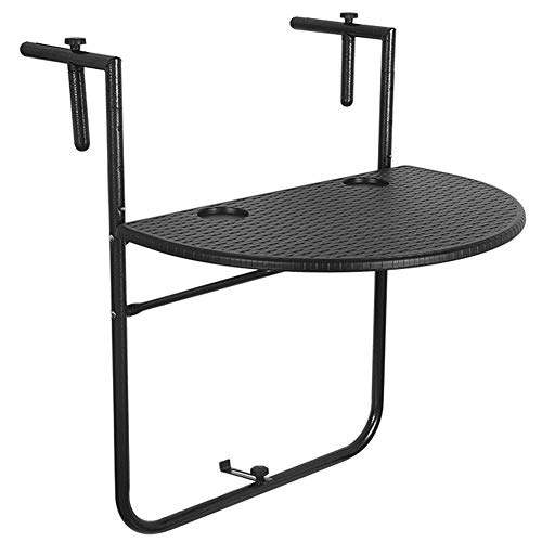 Sundale Outdoor Indoor Folding Hanging Table Adjustable Balcony Railing Table for Patio, Garden, Deck, Black Wicker Finish, 23.6″(L) x 15.6″(W) x 32.7″(H) Review