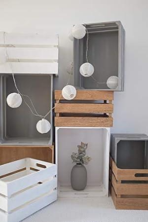 Zeller Caja de Almacenamiento, Madera, Blanco Vintage, Metal, Naturaleza, 39 x 29 x 21 cm