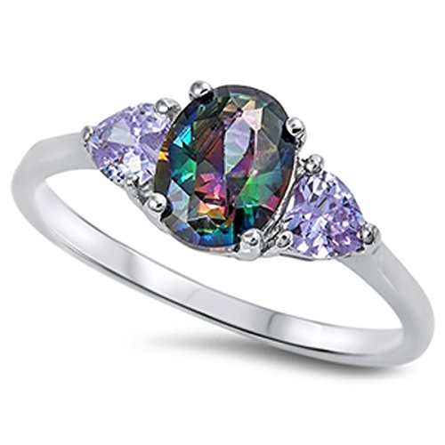 Sterling Silver Women's Flawless Rainbow Cubic Zirconia Oval Solitaire Ring (Sizes 5-10) (Ring Size 11) (Sale Deals)