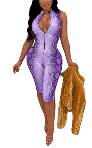Women's Sexy Snake Skin Lace Up Long Sleeve Bodycon Shorts Pants Jumpsuit Rompers One Piece Outfits with Zipper