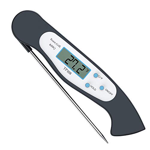 Tyson Instant Read Thermometer Super Fast Digital Electronic Food Thermometer Cooking Thermometer Barbecue Meat Thermometer with Collapsible Internal Probe for Grill Cooking Meat Kitchen Candy ()