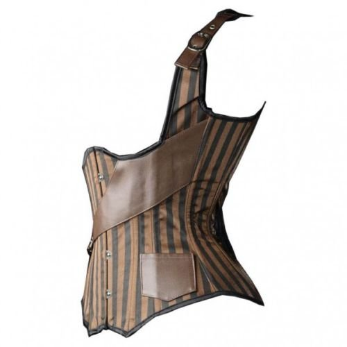 Bslingerie® Mujer Gótico Punk acero Openbust deshuesada corsé marrón