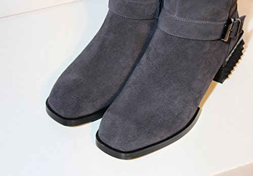 MINIVOG Mid-calf Low Stacked Heel Womens Boots Shoes with Buckle-straps and Rivets Grey 3t9pc