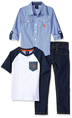 U.S. Polo Assn. Little Boys' Long Sleeve Shirt, T-Shirt and Pant Set, Orange Logo Multi Plaid, 6